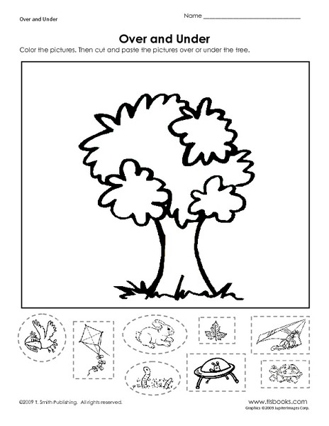 Positional Words Worksheets Kindergarten Over and Under Learning Position Words Worksheet for Pre K