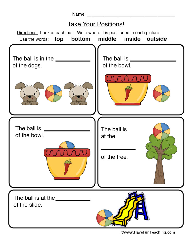 Positional Words Worksheets Kindergarten Prepositions Positions Worksheet
