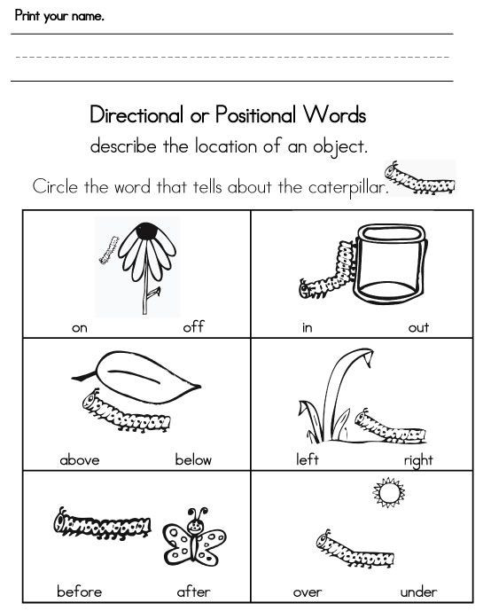 Positional Words Worksheets Kindergarten Sight Words