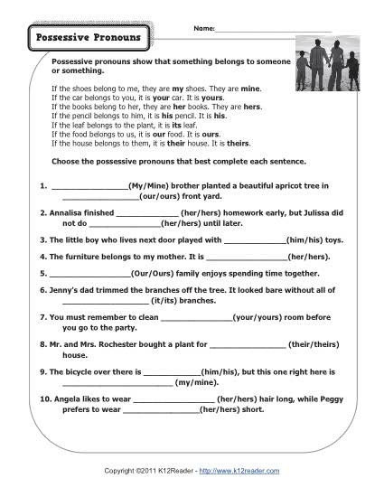 Possessive Pronoun Worksheets 5th Grade Possessive Pronouns