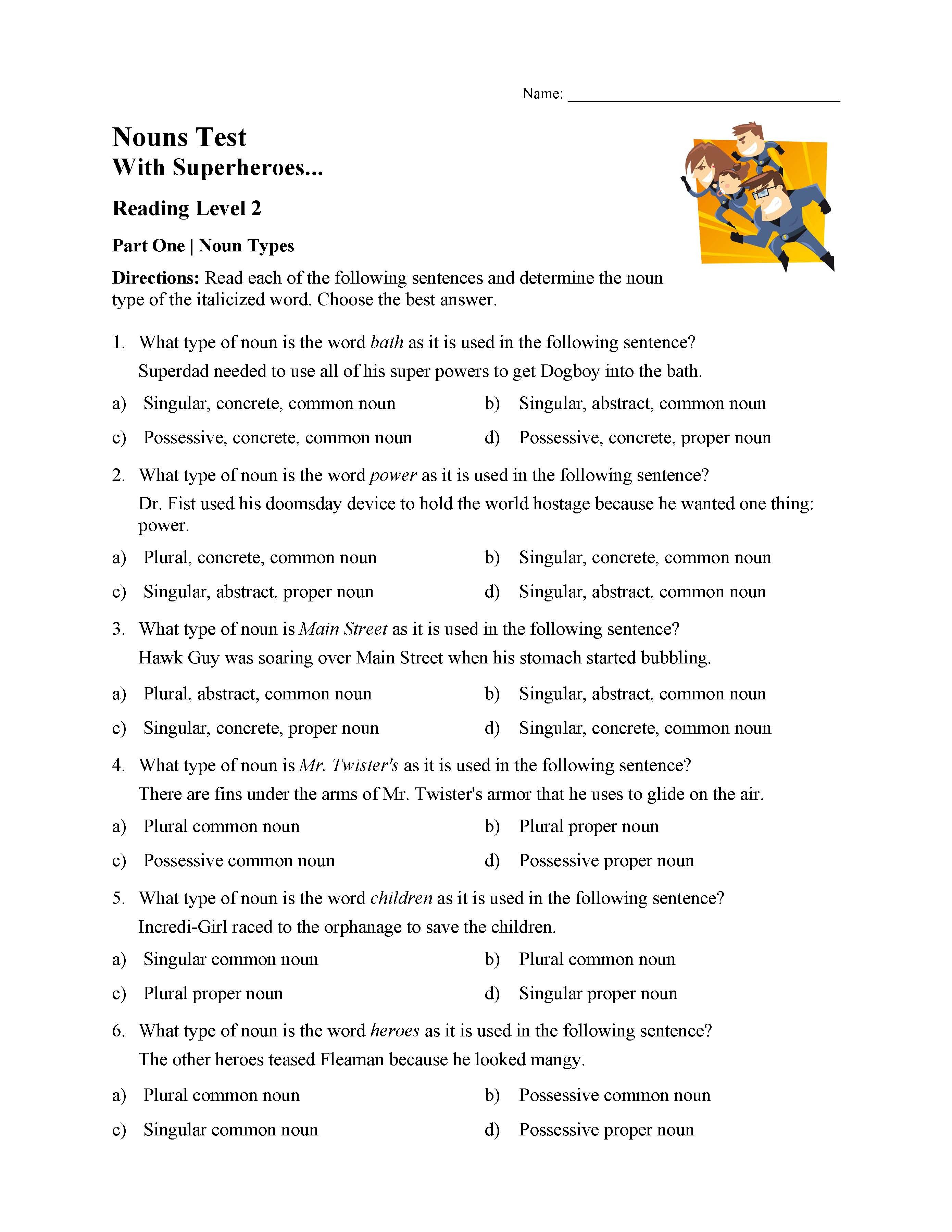 Possessive Pronoun Worksheets 5th Grade Singular Plural and Possessive Nouns Test 1
