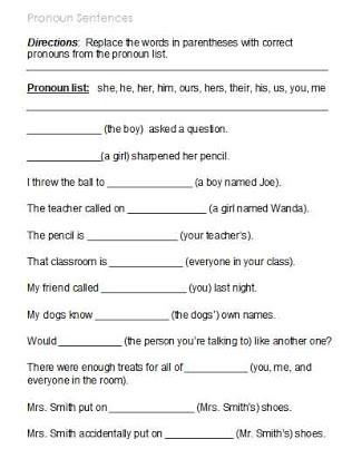 Possessive Pronouns Worksheet 3rd Grade Free Printable Pronoun Worksheets