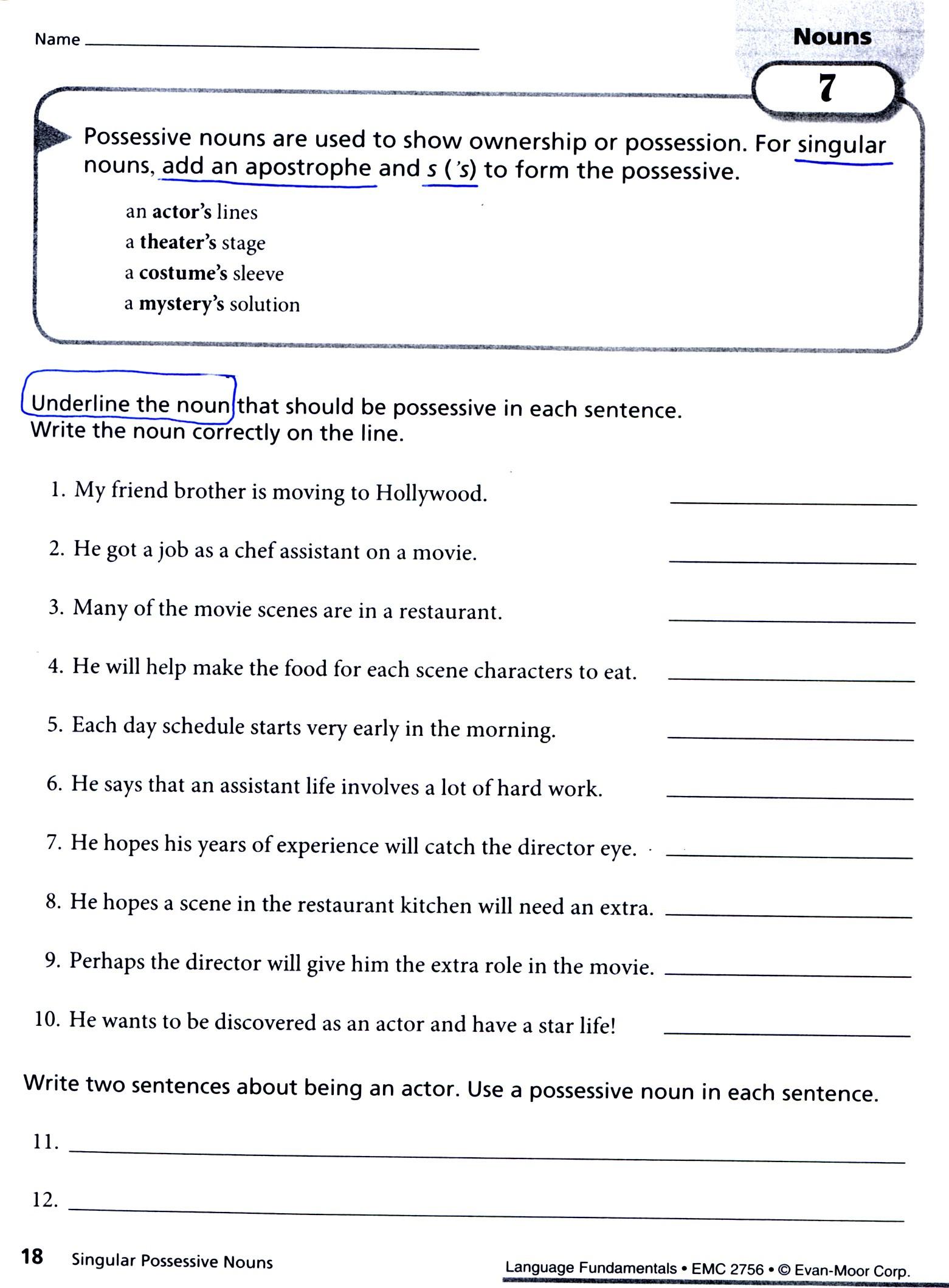 Possessive Pronouns Worksheet 5th Grade 28 [ Noun Worksheets 5th Grade ]