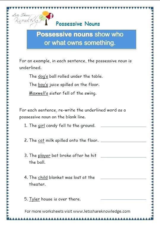 Possessive Pronouns Worksheet 5th Grade Nouns and Pronouns Worksheets Personal and Possessive
