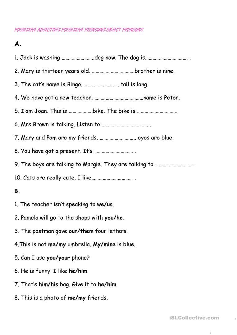 Possessive Pronouns Worksheet 5th Grade Possessive Adjectives Pronouns Object Pronouns English Esl