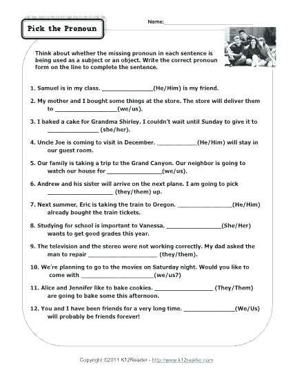 Possessive Pronouns Worksheet 5th Grade Pronoun Practice Worksheets for 6th Grade Possessive