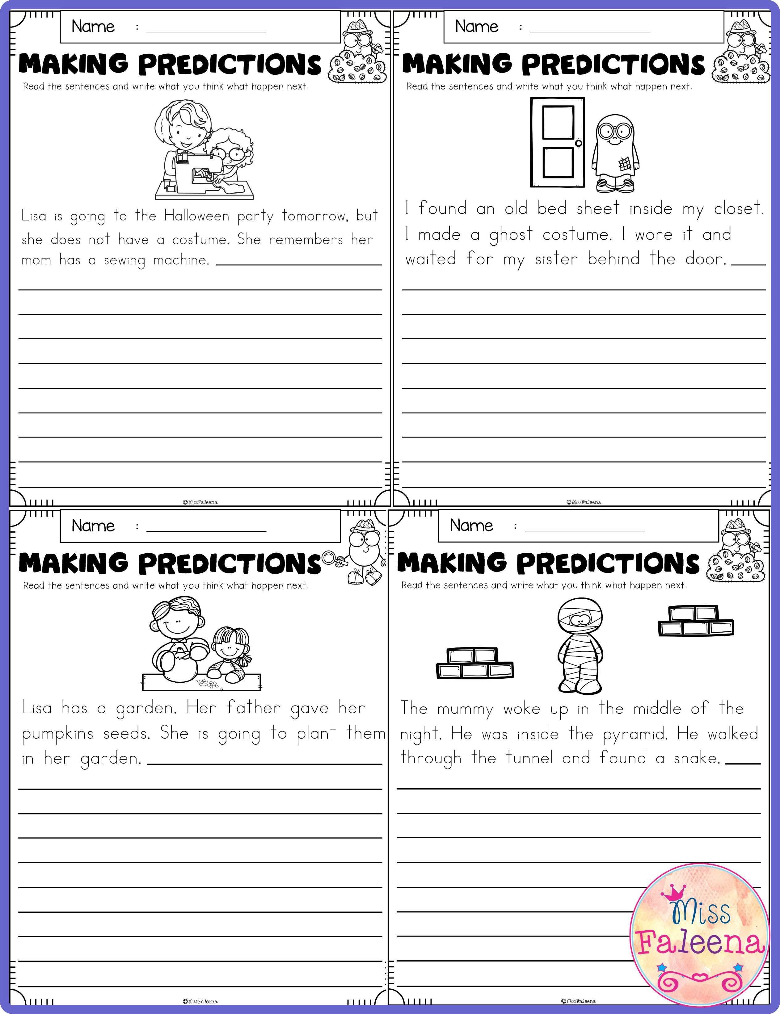 Predictions Worksheets 3rd Grade October Making Predictions
