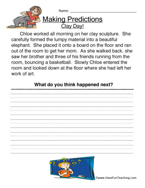 Predictions Worksheets 3rd Grade Predictions Worksheets • Have Fun Teaching