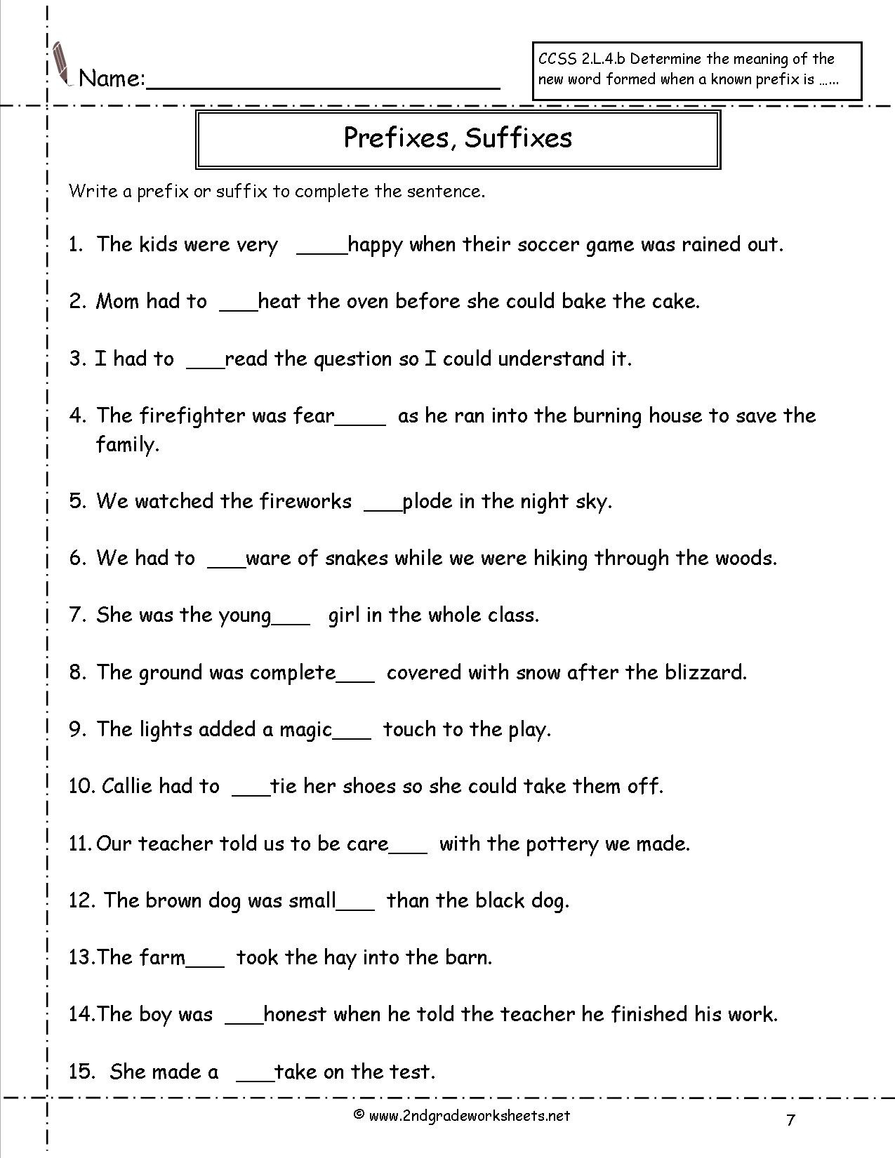 Prefix Suffix Worksheet 3rd Grade Second Grade Prefixes Worksheets