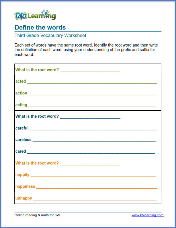 Prefix Suffix Worksheets 3rd Grade Grade 3 Vocabulary Worksheets – Printable and organized by