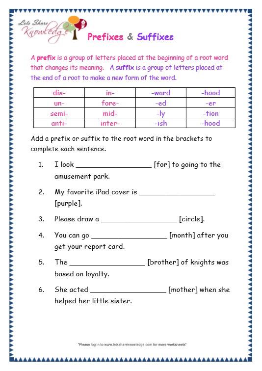 Prefixes Worksheet 3rd Grade Grade 3 Grammar topic 21 Prefix and Suffix Worksheets