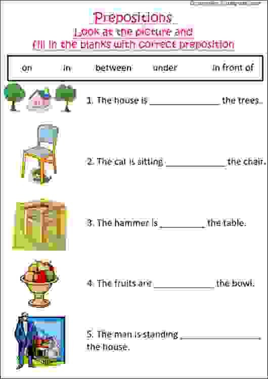 Preposition Worksheets for Grade 1 English Grammar Worksheet with Pictures to Practice
