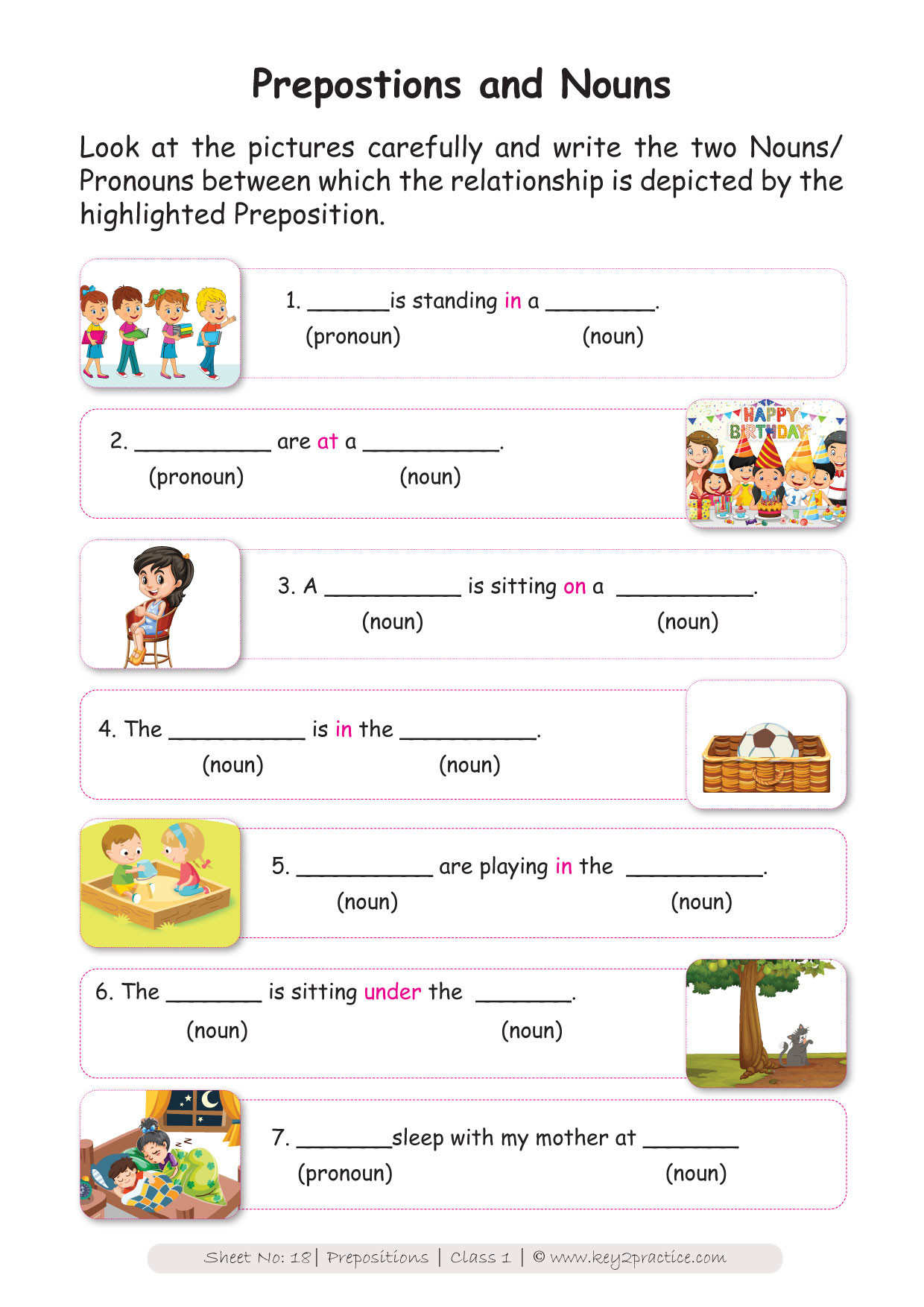 Preposition Worksheets for Grade 1 English Worksheets Grade 1 Workbook On Prepositions