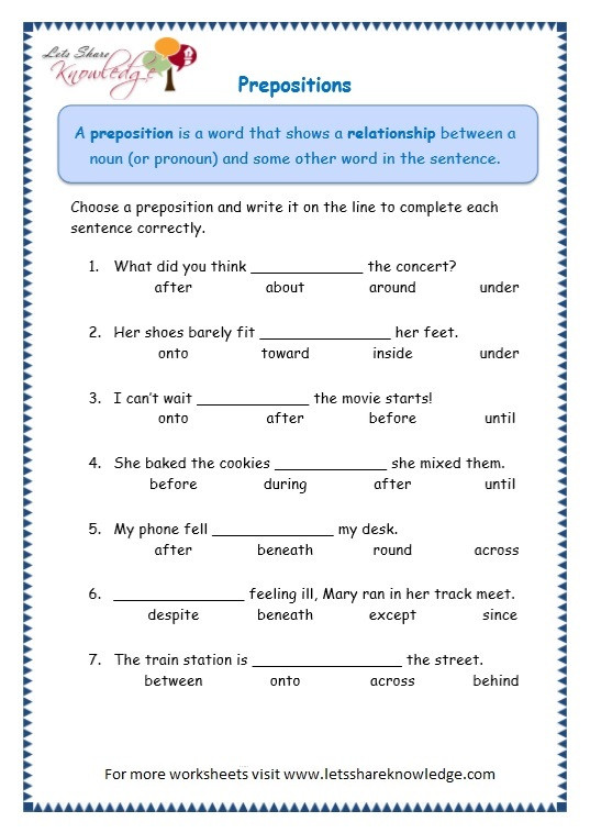 Preposition Worksheets for Grade 1 Grade 3 Grammar topic 17 Prepositions Worksheets – Lets