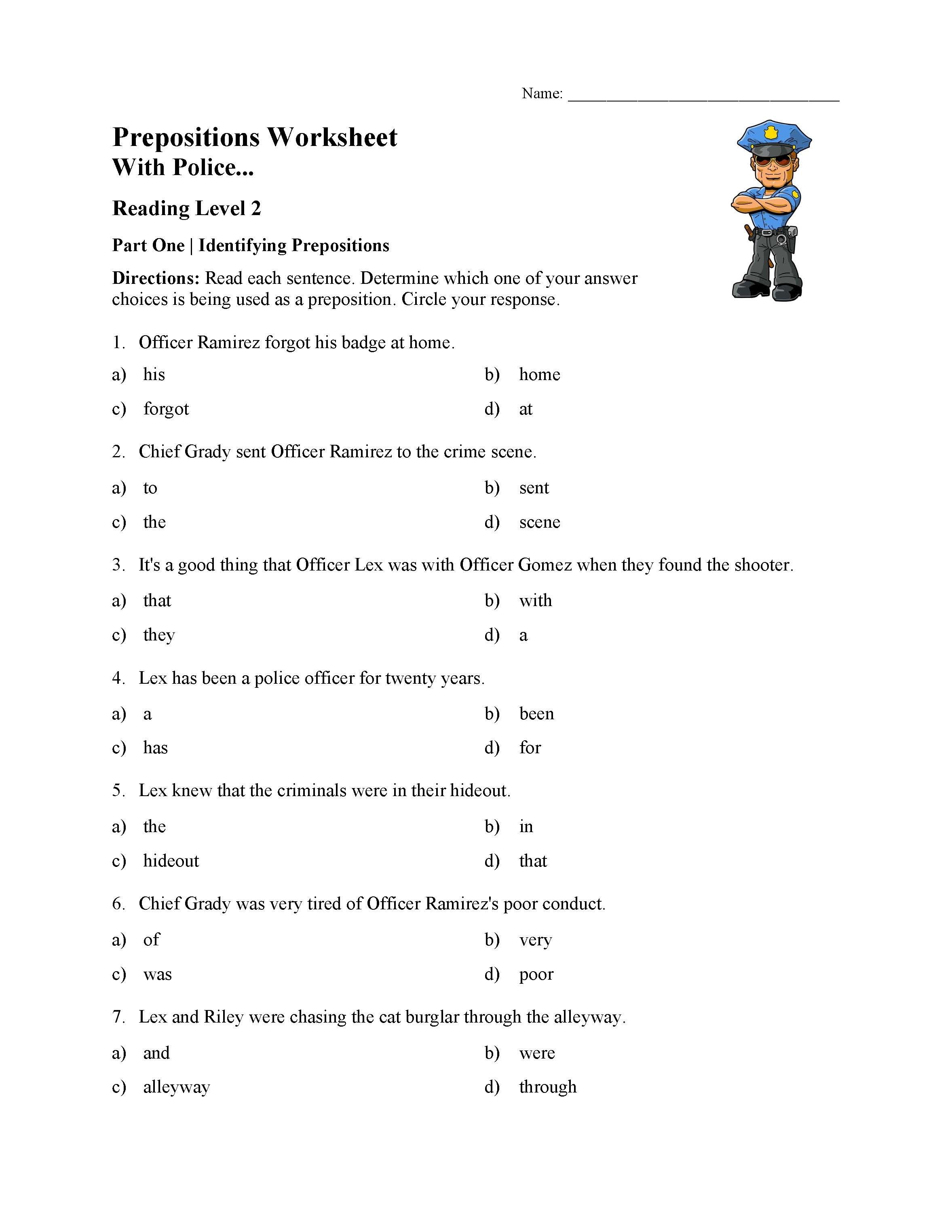 Preposition Worksheets for Grade 1 Preposition Worksheet 1 Reading Level 2