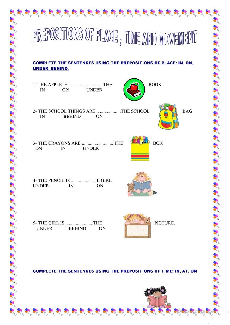 Preposition Worksheets for Grade 1 Prepositions Of Place Time and Movement English Esl