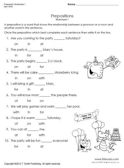 Preposition Worksheets for Grade 1 Snapshot Image Of Preposition Worksheet 1