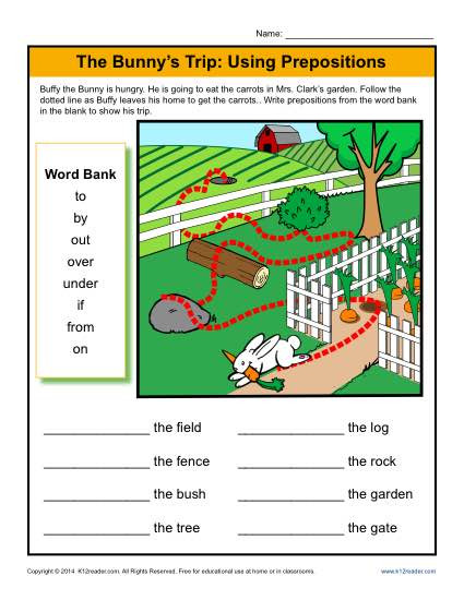 Preposition Worksheets for Grade 1 the Bunny S Trip Using Prepositions