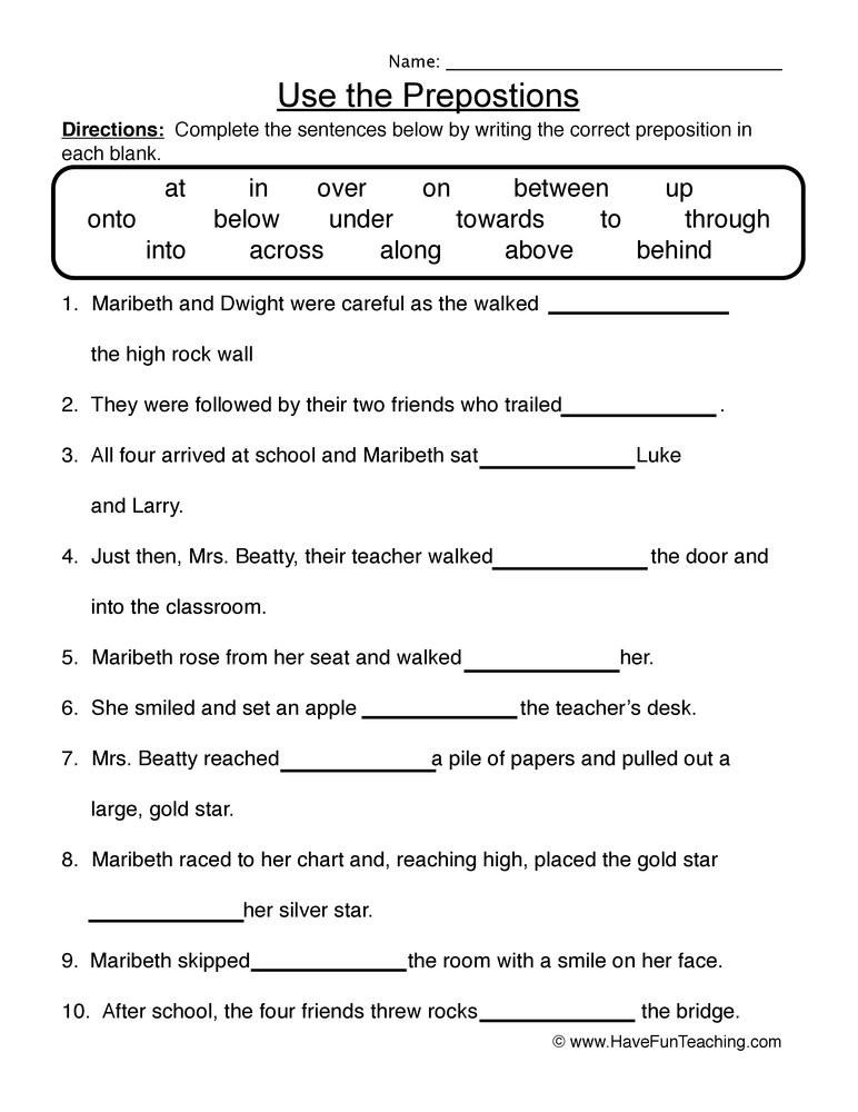 Preposition Worksheets for Grade 1 Use the Prepositions Worksheet