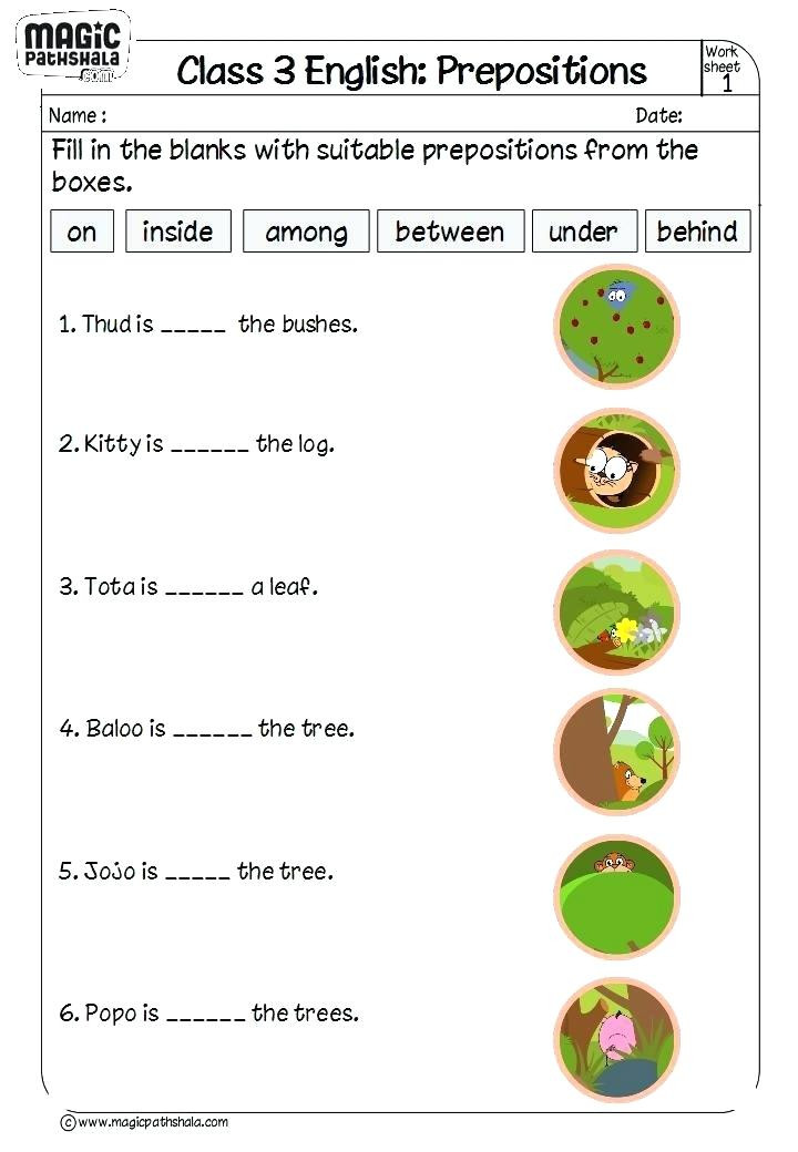 Preposition Worksheets for Grade 1 Worksheets On Preposition for Class 1 – Keepyourheadup