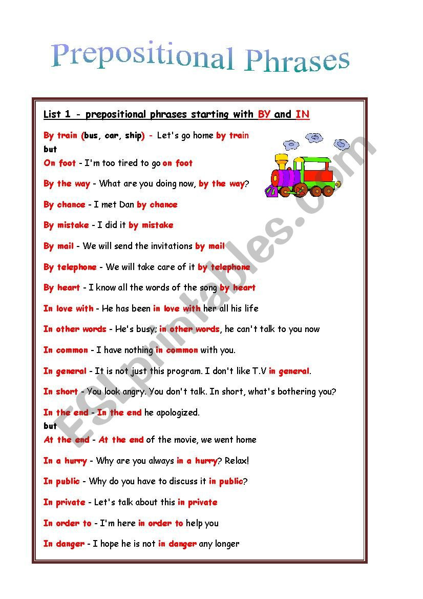 Prepositional Phrase Worksheet 4th Grade Prepositional Phrases Rules Exercises Esl Worksheet by