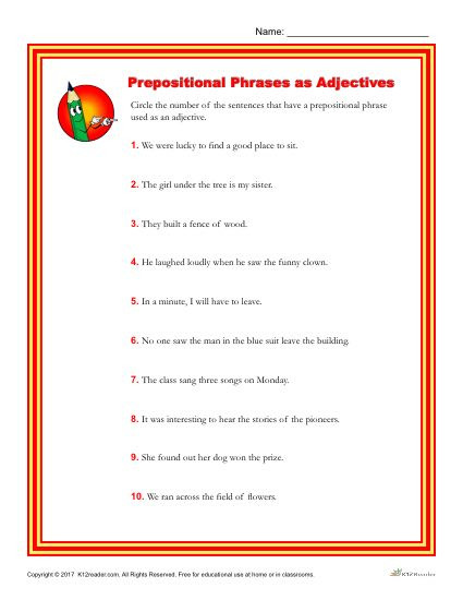 Prepositional Phrases Worksheet 6th Grade Choose the Sentence that Contains An Adjectival