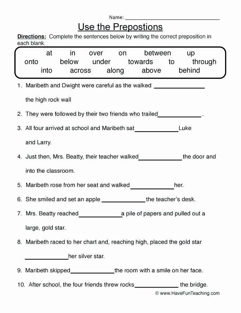 Prepositional Phrases Worksheet 6th Grade Pin On Editable Grade Worksheet Templates