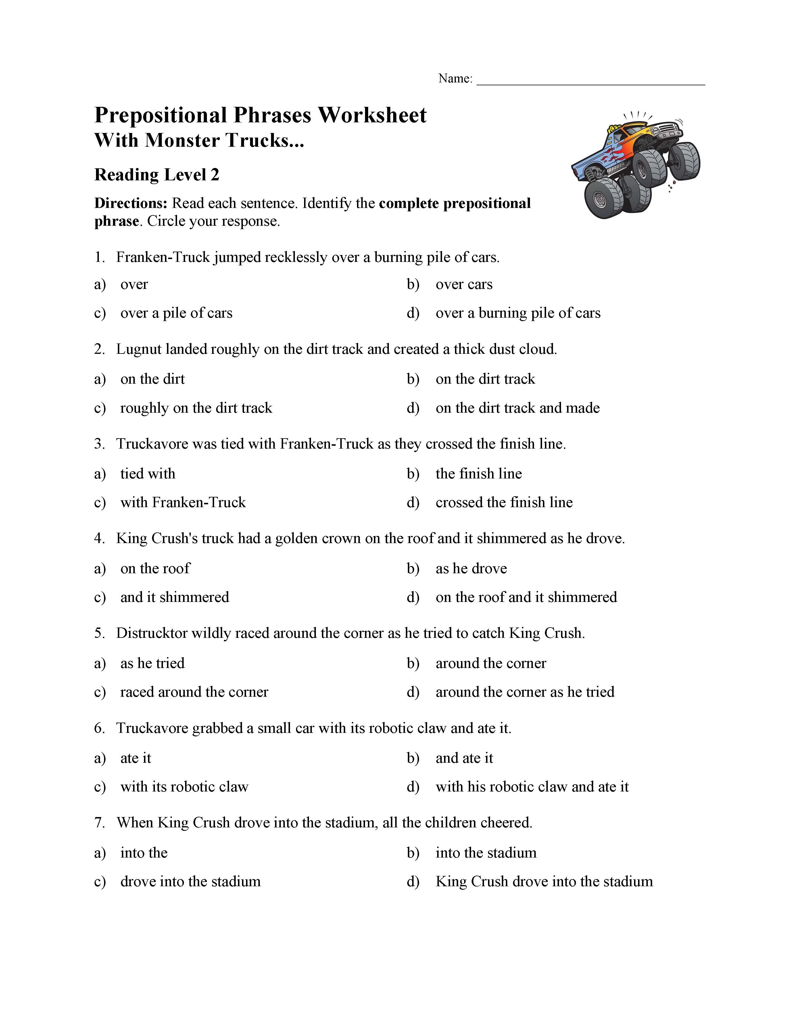 Prepositional Phrases Worksheet 6th Grade Prepositional Phrases Worksheet 1 Reading Level 2
