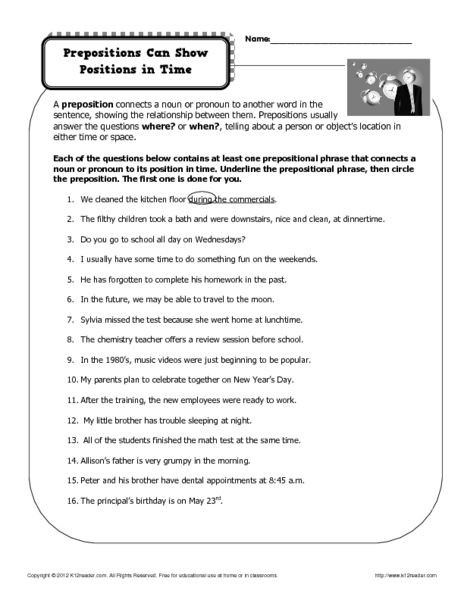 Prepositional Phrases Worksheet 6th Grade Prepositions Can Show Positions In Time 6th 8th Grade