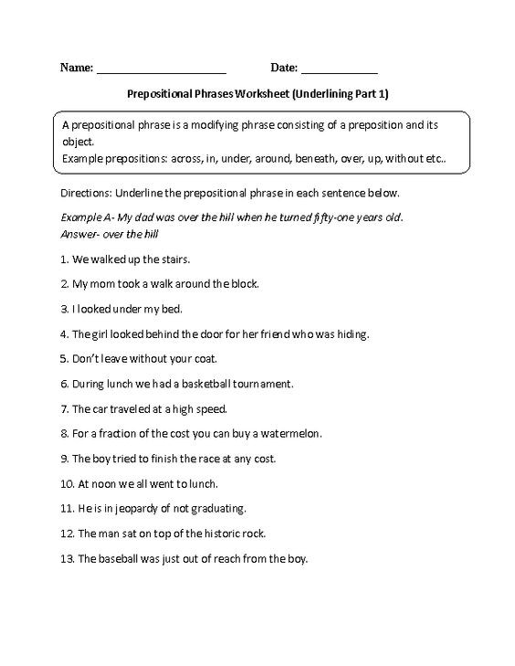 Prepositional Phrases Worksheet 6th Grade Underlining Prepositional Phrase Worksheet Also Many Other