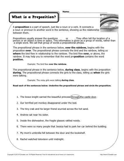 Prepositional Phrases Worksheet 6th Grade What is A Preposition Printable Worksheet