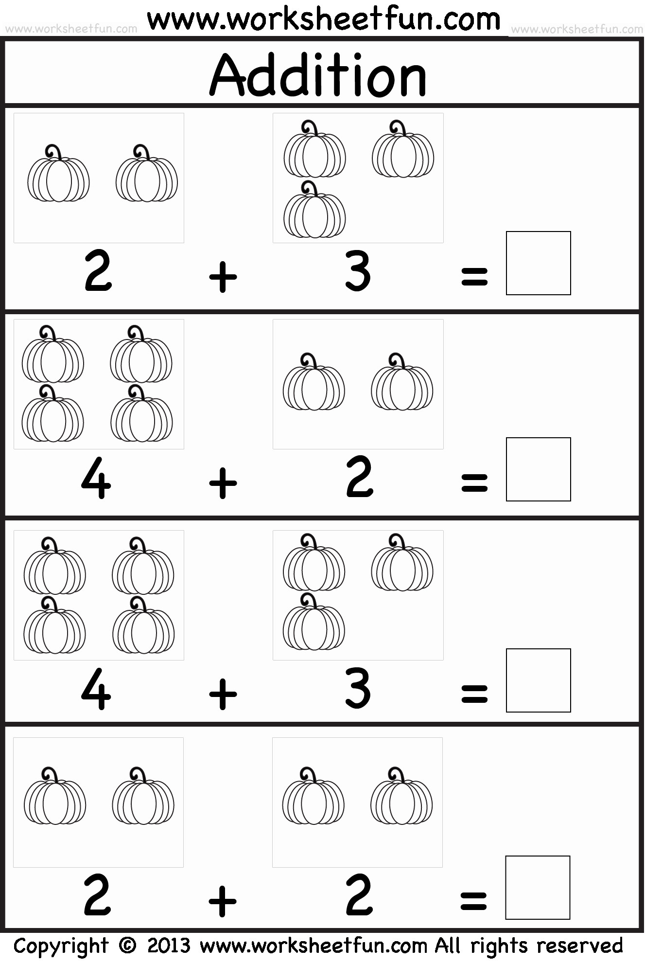 Preschool Addition Worksheets Printable Kindergarten Math Worksheets for Printable Kindergarten