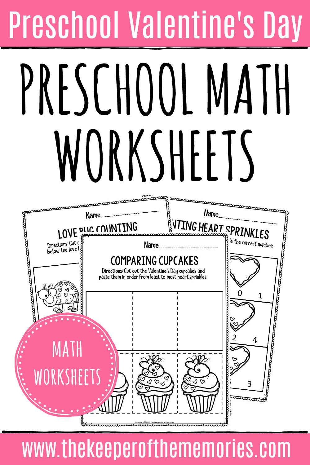 Preschool Addition Worksheets Printable Printable Math Valentine S Day Preschool Worksheets