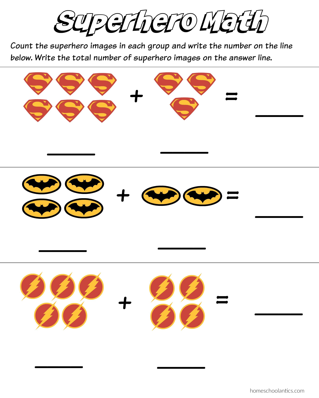 Preschool Addition Worksheets Printable Superhero Math Kindergarten Addition Worksheet Printables