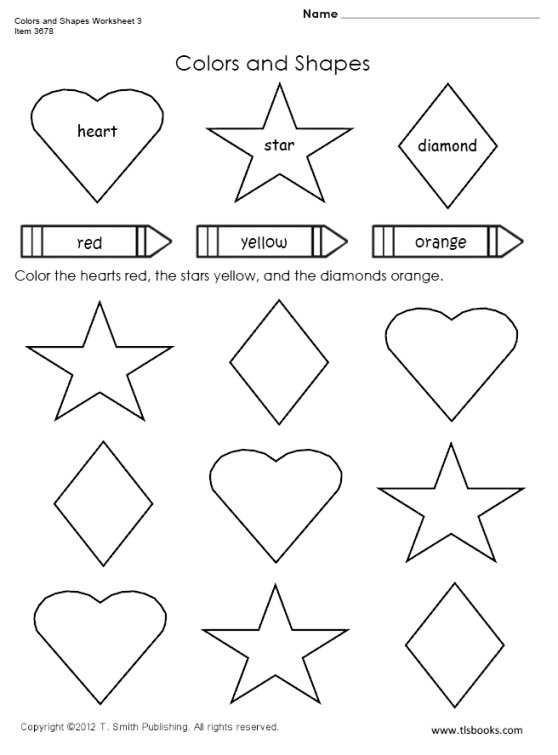 Preschool Diamond Shape Worksheets Colors and Shapes Worksheet 3
