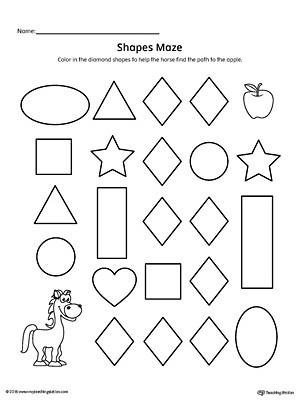 Preschool Diamond Shape Worksheets Diamond Shape Maze Printable Worksheet