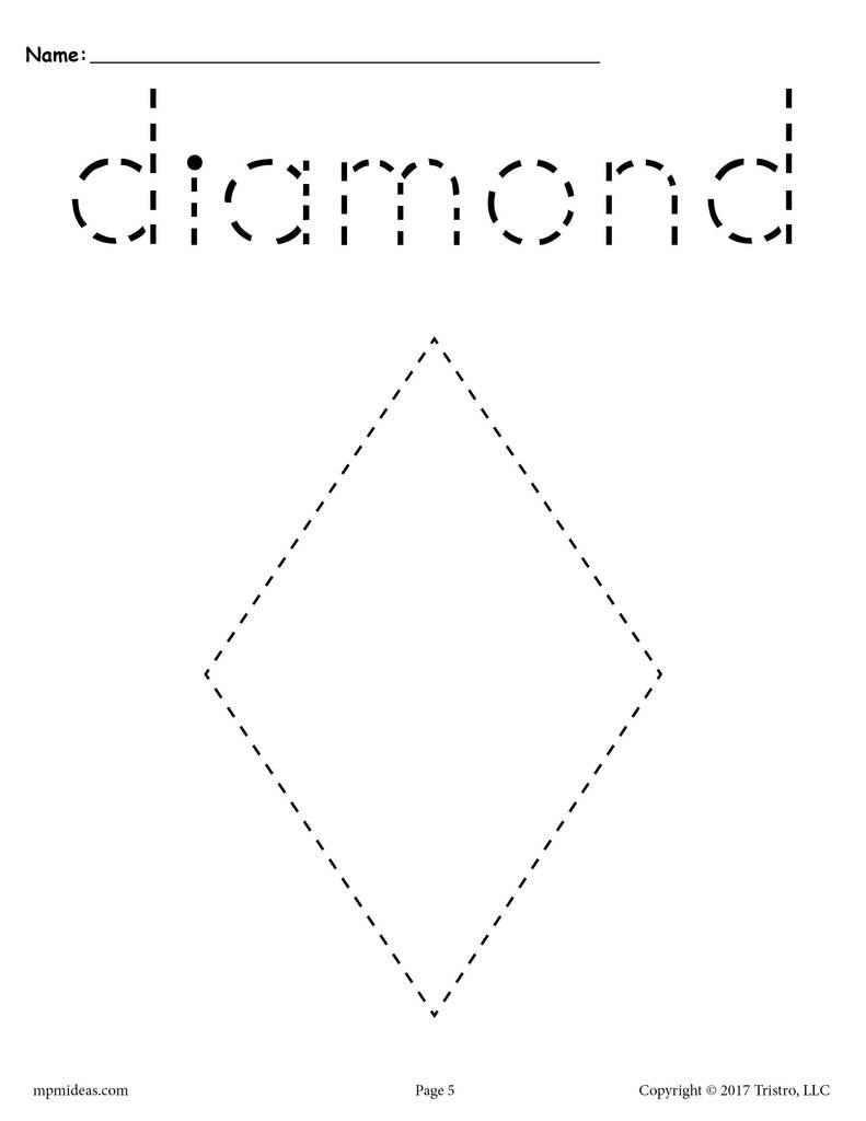 Preschool Diamond Shape Worksheets Diamond Tracing Worksheet