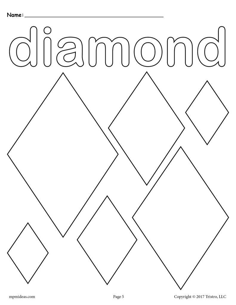 Preschool Diamond Shape Worksheets Diamonds Coloring Page