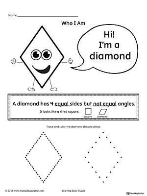Preschool Diamond Shape Worksheets Learning Basic Geometric Shape Diamond