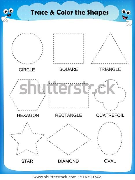 Preschool Diamond Shape Worksheets Preschool Worksheet Trace Shapes Color Basic เวกเตอร์สต็อก
