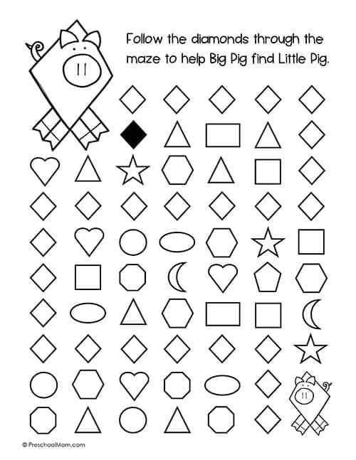 Preschool Diamond Shape Worksheets Shapes Archives Preschool Mom
