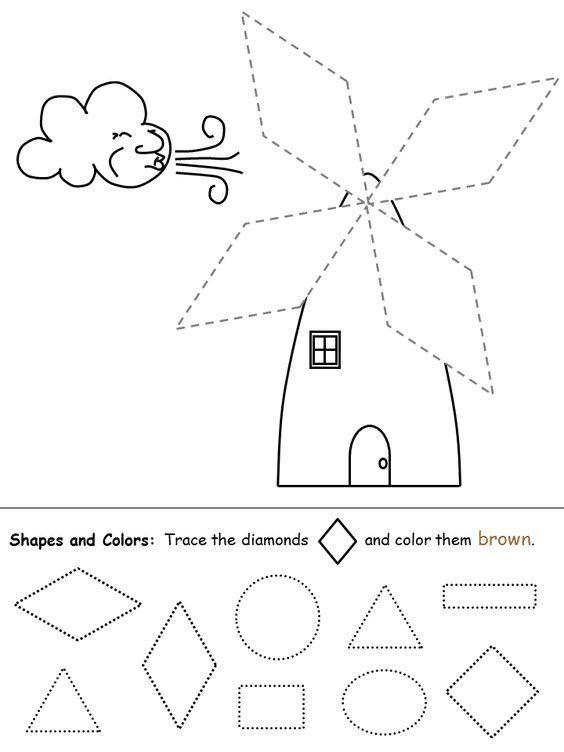 Preschool Diamond Shape Worksheets Shapes Recognition Practice Worksheet Diamond