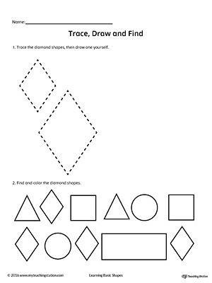 Preschool Diamond Shape Worksheets Trace Draw and Find Diamond Shape
