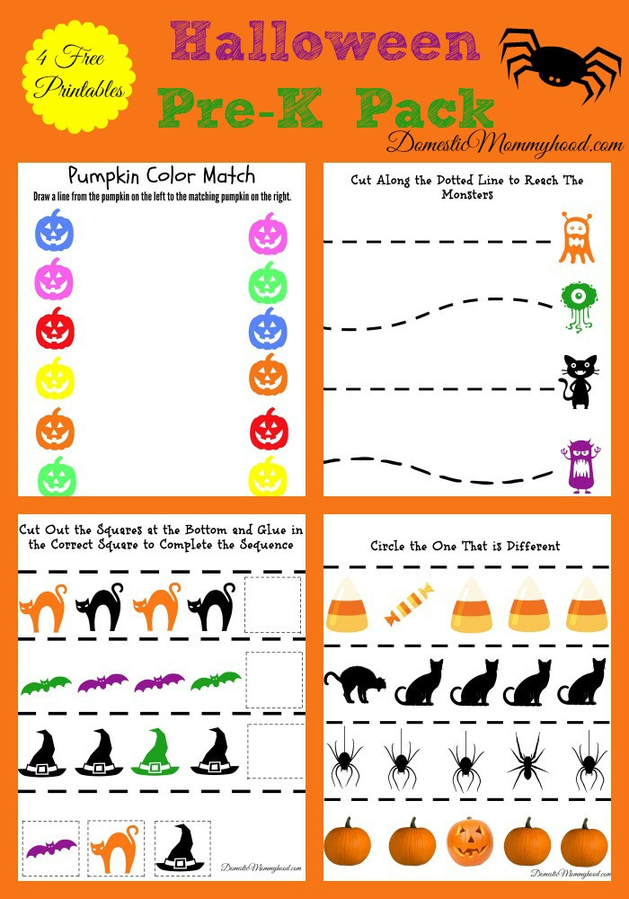 Preschool Halloween Worksheets Free Free Pre K Halloween Pack Printable Domestic Mommyhood