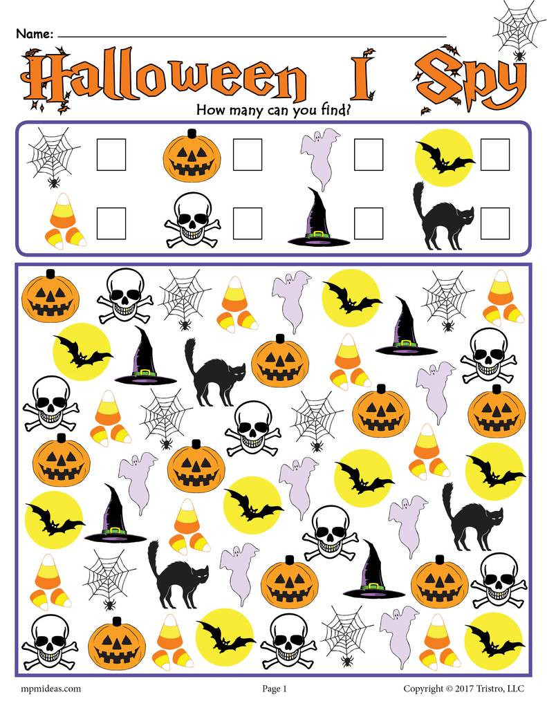 Preschool Halloween Worksheets Free Halloween I Spy Printable Halloween Counting Worksheet