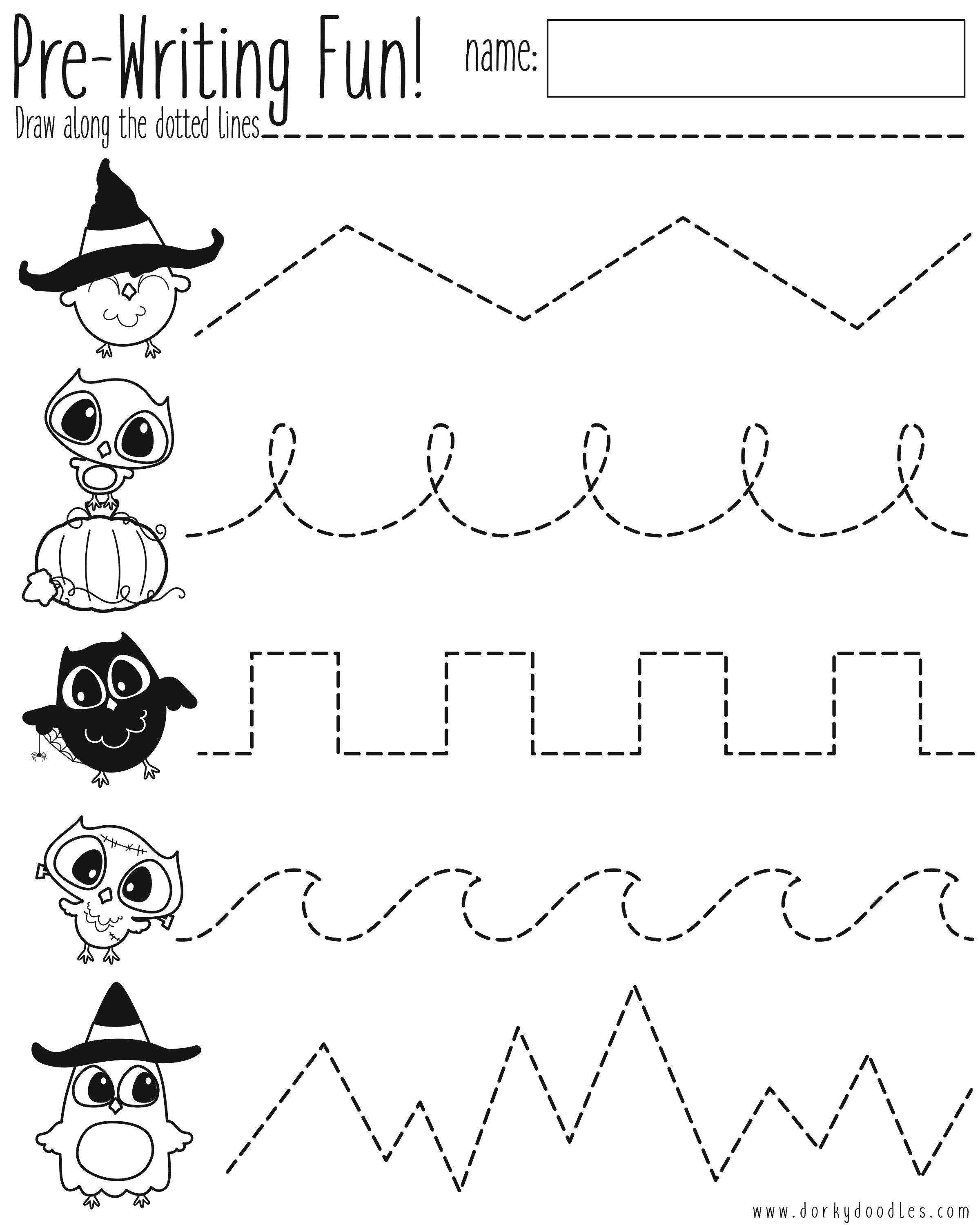 Preschool Halloween Worksheets Free Pre Writing Practice Halloween Worksheet