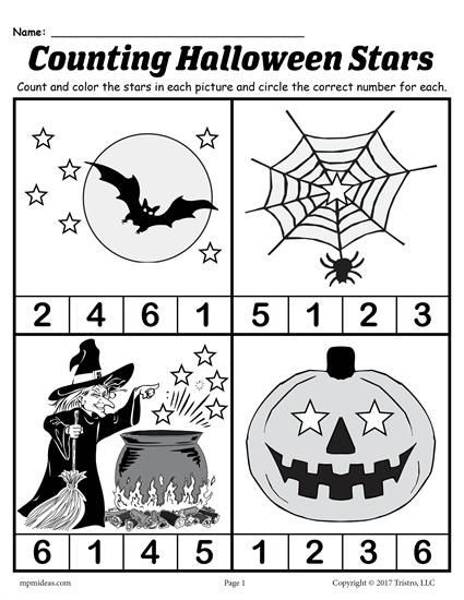 Preschool Halloween Worksheets Free Printable Preschool Halloween Counting Worksheet