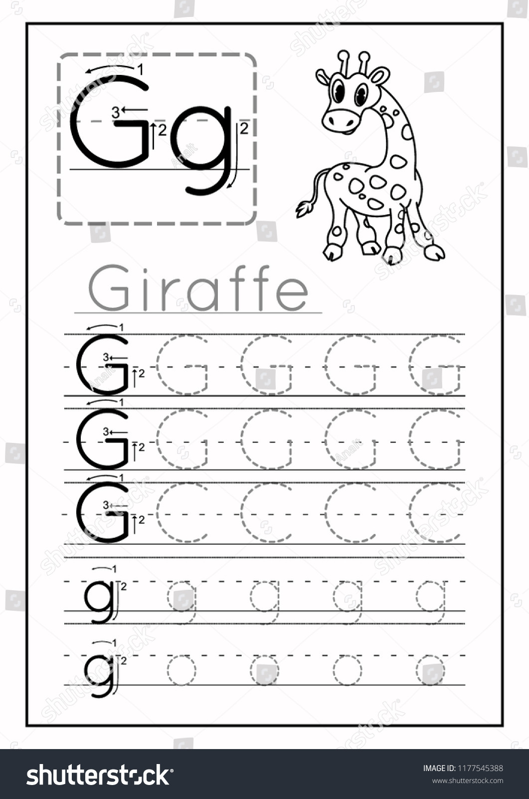 Preschool Letter G Worksheets Writing Practice Letter G Printable Worksheet เวกเตอร์สต็อก
