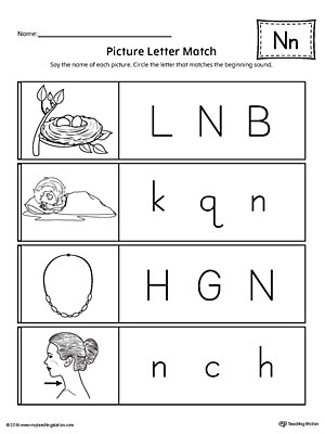Preschool Letter N Worksheets Picture Letter Match Letter N Worksheet