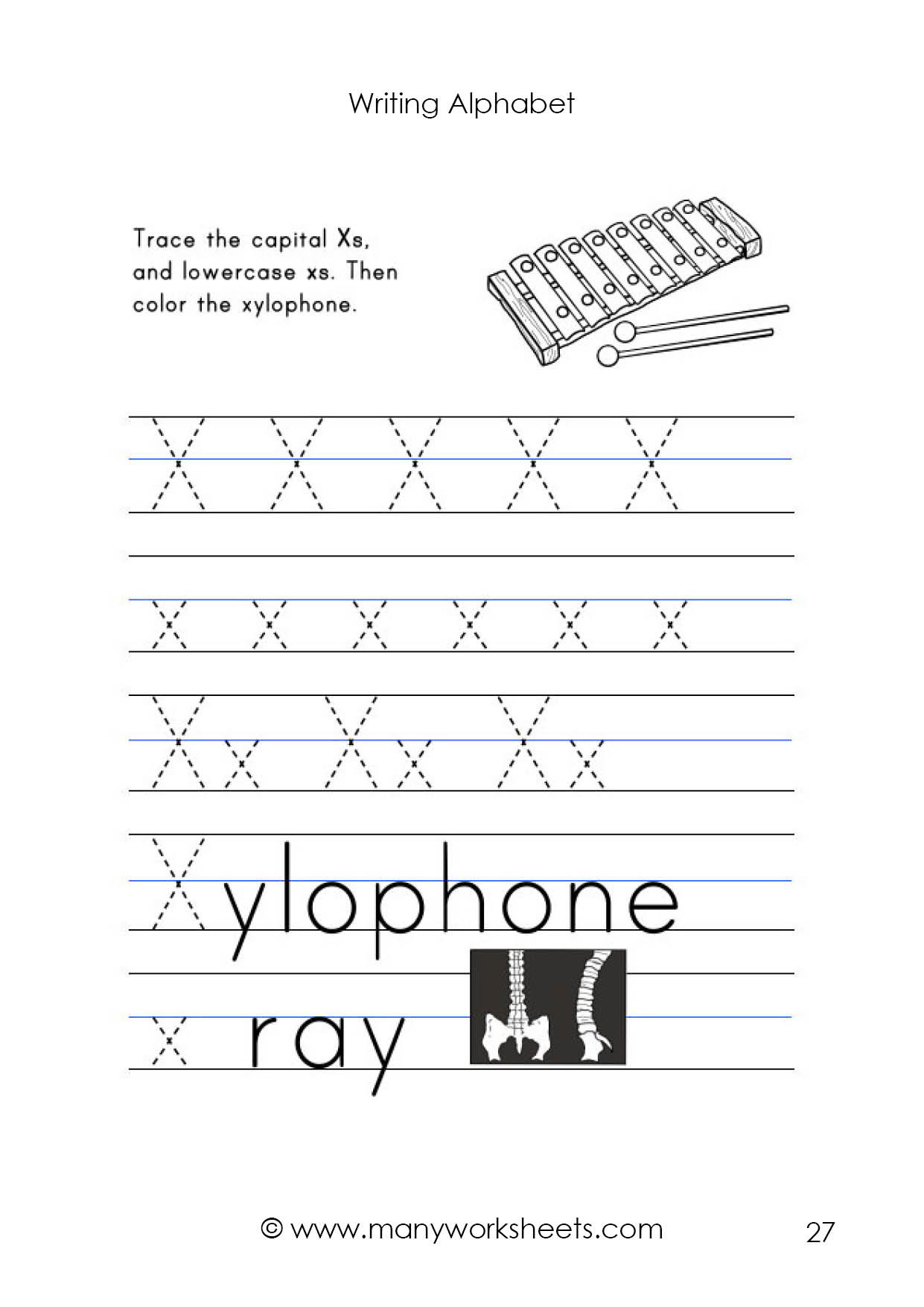 Preschool Letter X Worksheets Letter X Worksheet – Tracing and Handwriting